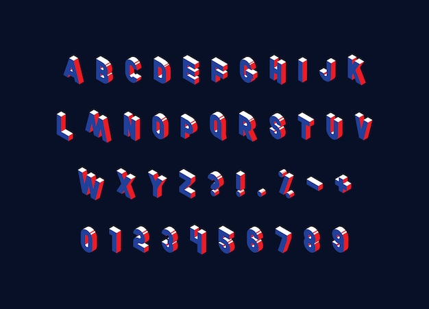Isometric alphabet on dark. trendy vintage capital letters, numbers and signs