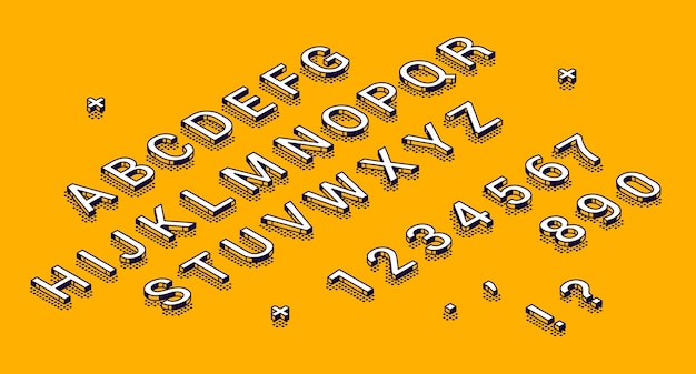 Isometric alphabet, numbers and punctuation marks lying in row