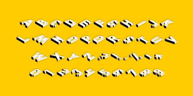 黄色の背景に等尺性のアルファベット。トレンディなヴィンテージの大文字、数字、記号は、編集やカスタマイズが簡単です。