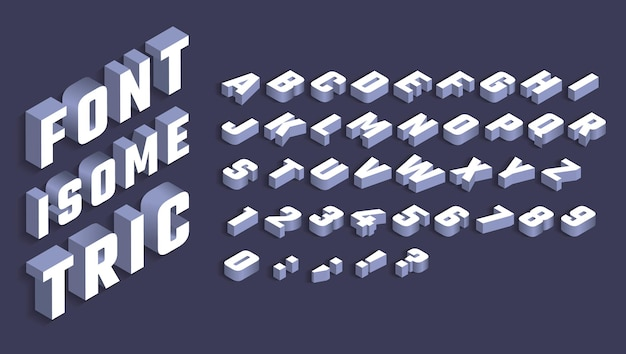 Isometric alphabet white letters and numbers with shadow