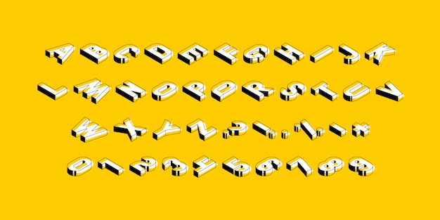 Isometric alphabet on yellow background. trendy vintage  capital letters, numbers and signs easy to edit and customize.