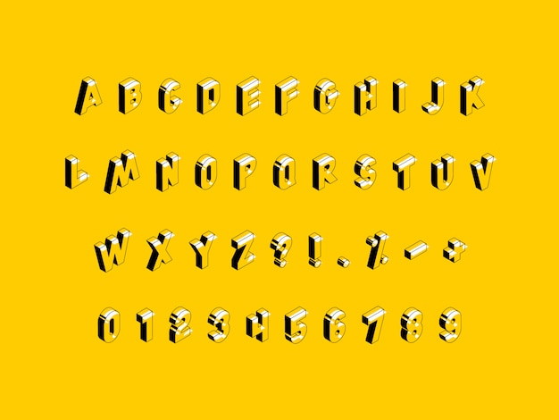 Isometric alphabet on yellow background