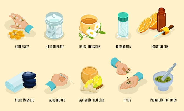 Isometric alternative medicine elements set with aritherapy hirudotherapy herbs homeopathy oils stone Free Vector