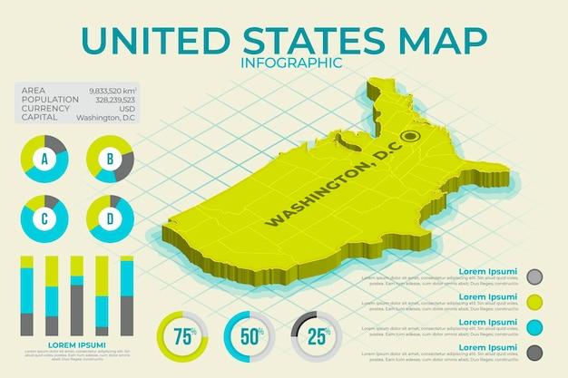 Изометрические карта америки инфографики