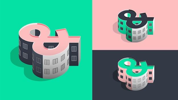 Isometric ampersand building