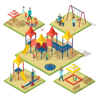 Isometric amusement area composition