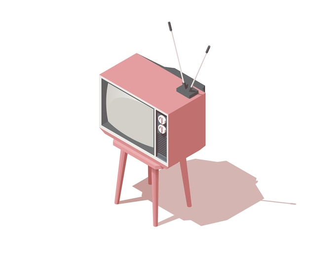 Isometric analogue retro tv with antenna