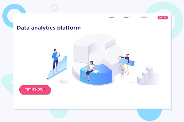 Isometric analysis data and investment.technology information concept