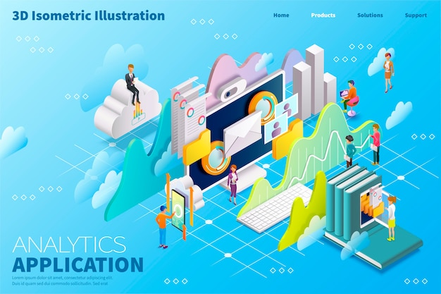 Isometric analytics application concept with graphs, charts symbols and business people