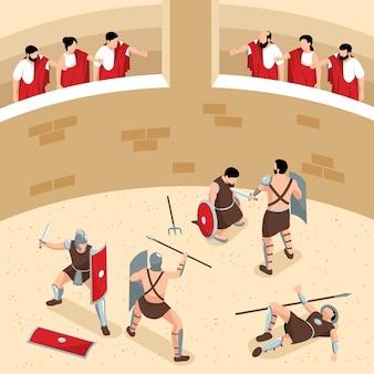 싸움 그림에서 관객과 전사와 둥근 경기장의 볼 수있는 아이소 메트릭 고대 로마 검투사 구성