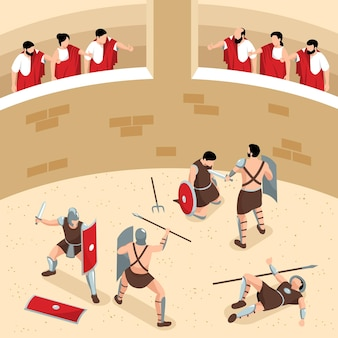 Isometric ancient rome gladiators composition with view of round arena with audience and warriors in fight illustration