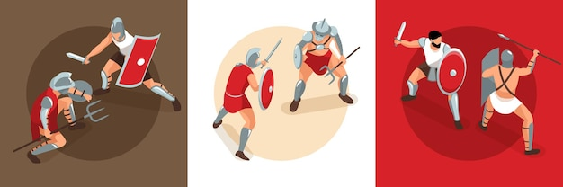 Isometric  ancient  rome  gladiators  design  concept  with  square  compositions  of  duel  battles  with  fighting  warrior  characters    illustration