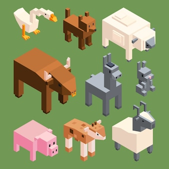 Isometric animals of farm in 3d