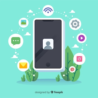 Isometric antigravity mobile phone with icons