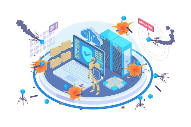 Isometric antivirus protection technology concept