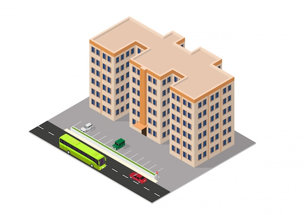 Isometric apartment building
