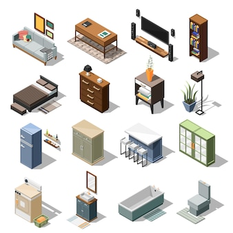 Isometric apartment furniture set