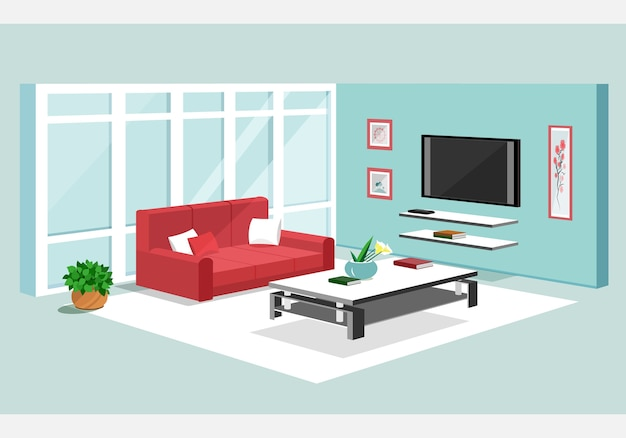 Isometric  of apartment.  illustration of modern isometric living room interio