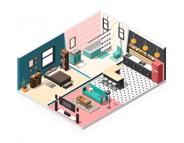 Isometric apartment interior