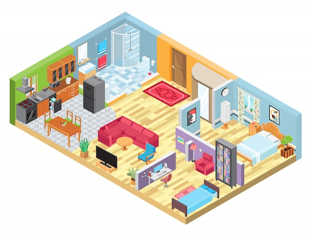 Isometric apartment layout, room interior in modern house, indoor plan view, illustration