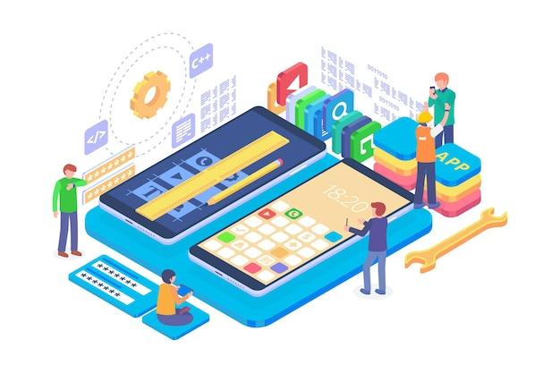 Isometric app development concept