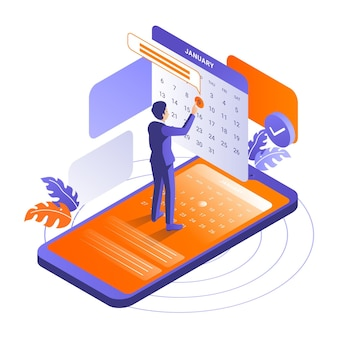 Isometric appointment booking with smartphone