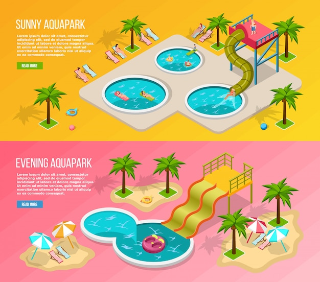 Isometric aqua park banner set