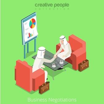 Isometric arabic islamic muslim businessman business meeting contract deal handshake negotiations