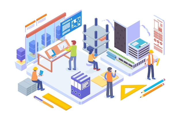 Isometric architecture firm vector concept
