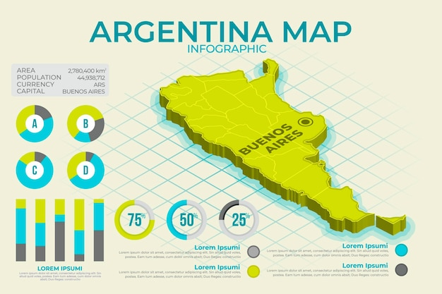 Mappa isometrica argentina infografica