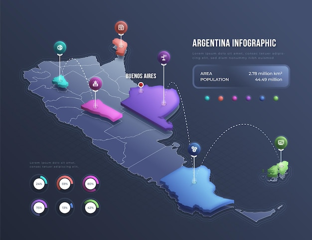 Изометрические карта аргентины инфографики