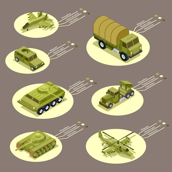 Isometric armor weapon of infographic  illustration