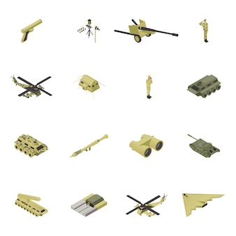 Isometric army illustration, military weapon for war, guns design isolated set. armed camouflage people combat collection, soldier in uniform and object force, vehicle, tank. helicopter, ship