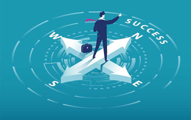 Isometric arrow of compass with businessman pointing to success slogan