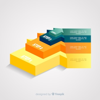Isometric arrow infographic steps template