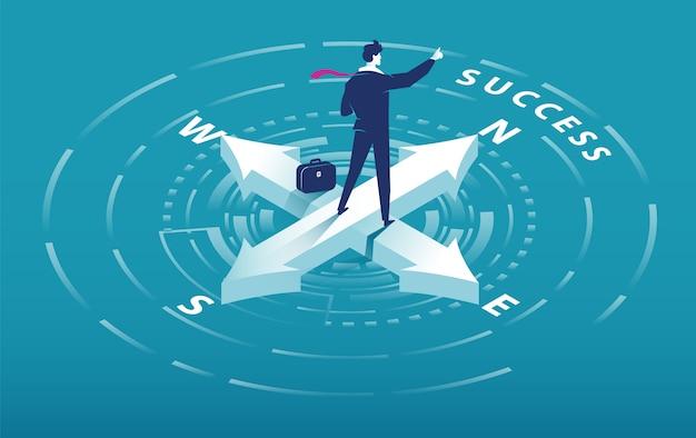 성공 슬로건을 가리키는 사업가와 나침반의 아이소 메트릭 화살표