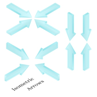 Isometric arrows. realistic ice arrows. frozen water in the form of arrows direction. transparent light blue arrow icons. design for web site, pc gaming. vector illustration.