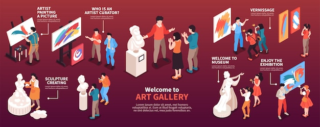 Isometric art gallery infographics exhibition paintings and statues illustration