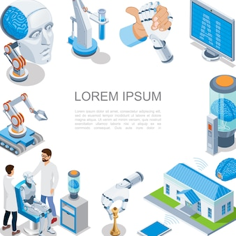 Isometric artificial intelligence composition with digital brain robotic arms smart home industrial robots cyborg head monitor scientists