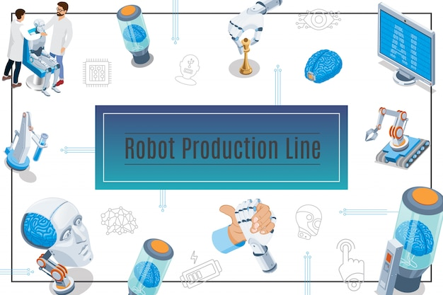 Isometric artificial intelligence composition with monitor cyborg head brain in tube scientists industrial robots robotic arms
