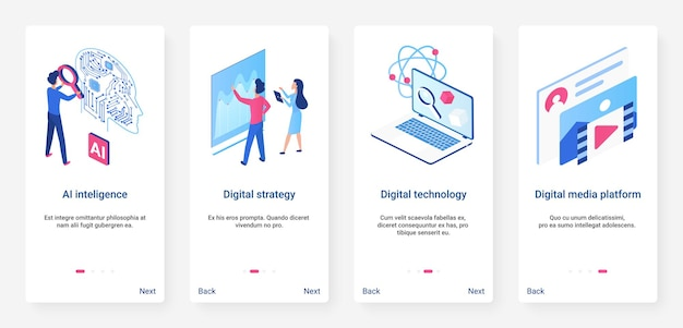 Isometric artificial intelligence concept ux onboarding mobile app page screen set