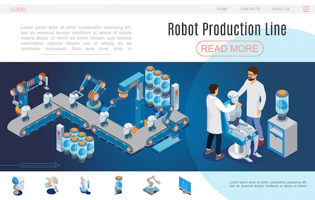 Isometric artificial intelligence website template with robot production lines cyborg creation robotic head arms digital brain monitor