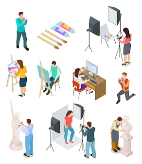 Isometric artist. art studio artistic photo sculpture artists sculptor painting working picture creative ers   people
