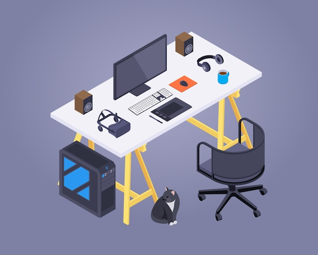 Isometric artist workplace