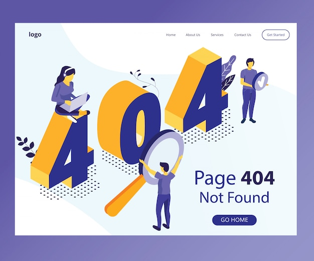 Isometric artwork concept of 404