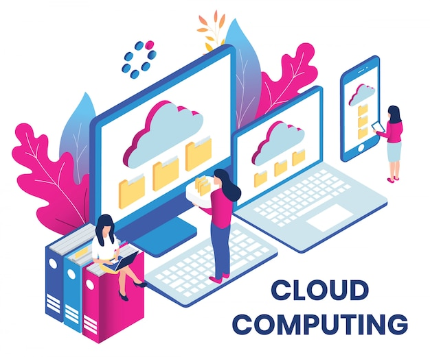 Isometric artwork concept of cloud computing