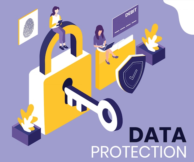 Isometric artwork concept of data protection.
