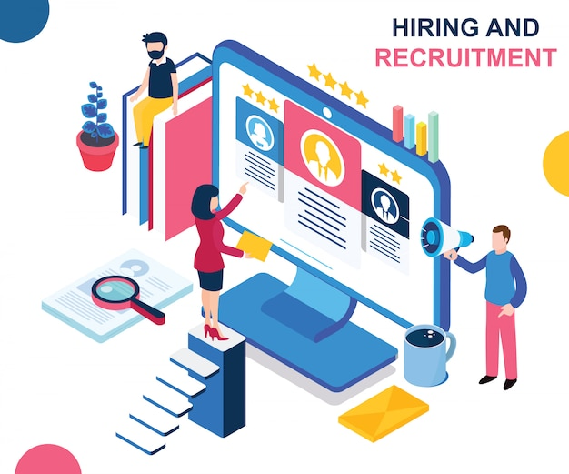 Isometric artwork concept of hiring and recruiting.