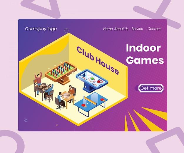 Isometric artwork concept of indoor games