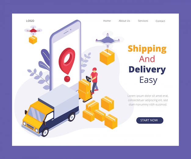 Isometric artwork concept of online delivery system.
